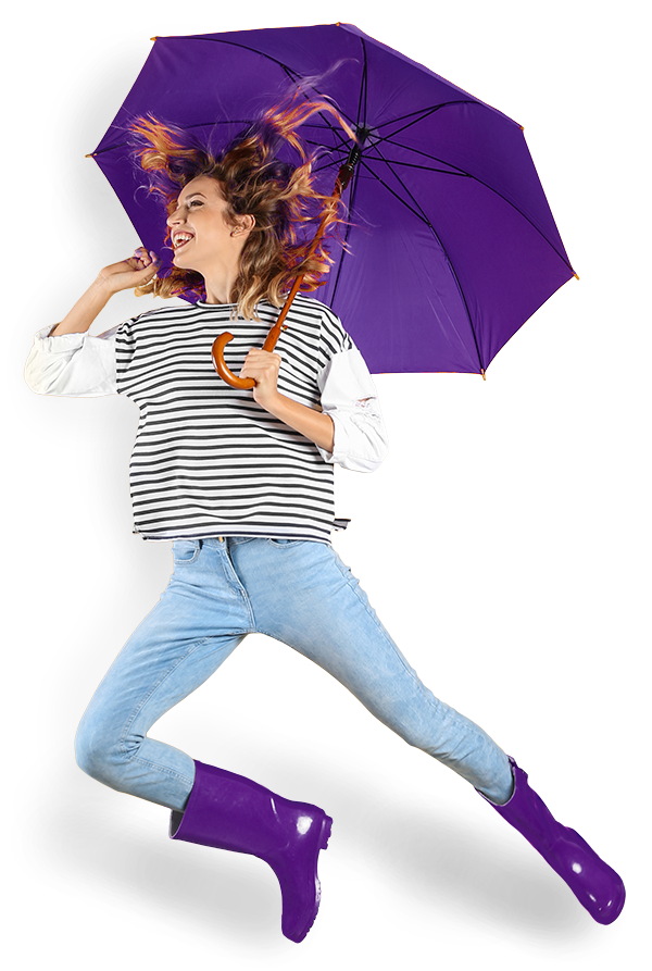 Purple Umbrella Lady